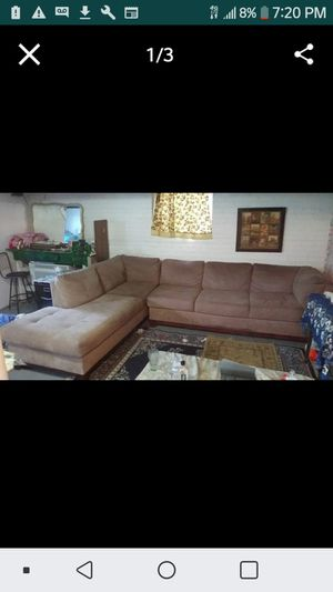 Sectional couches light brown suede all reasonable offers considered for Sale in Dearborn, MI