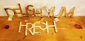 Gold Yum Delish Fresh Kitchen Metal Trivets/ Wall Decor for Sale in Billerica, MA