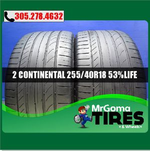 2 CONTINENTAL CONTISPORTCONTACT 5 SSR RFT USED TIRES 255/40/18 AUDI 95Y 2554018 for Sale in Palmetto Bay, FL