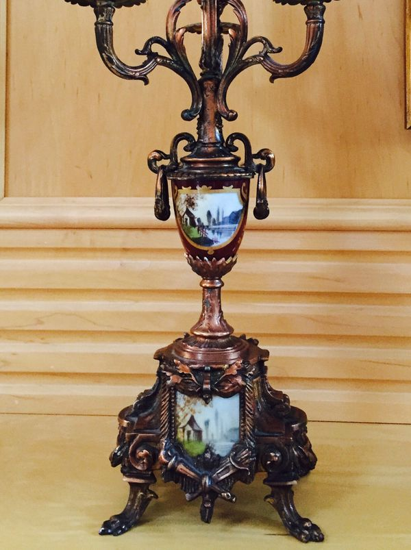 Gorgeous French clock with 2 candelabras. The French Ormolu clock with a pair of candelabras and original sniffers signed by artist Carl 3130-48 Darg