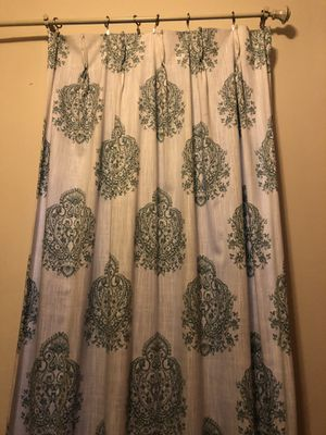 Set of 2 teal and white paisley curtains for Sale in New York, NY