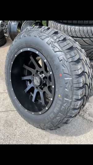 "New 20x12 Black Off Road Rims And new tires 20"" Wheels 20 Negros Rines y llantas Dodge ram Chevy Silverado H2 Hummer GMC Sierra F250 F350 Super Duty for Sale in Dallas, TX"