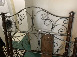 Queen Bed frame with metal head board for Sale in Bellingham, WA