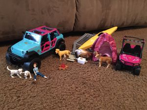 Bass Pro Shops Jeep camping set and Barbie camping set $10 together. for Sale in Montpelier, VA