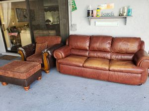 Leather sofa with chair and ottoman for Sale in Boca Raton, FL