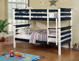 Blue & white twin twin bunk bed/Yes We Finance 😁 Message To Apply Today / No Credit Needed - Order Today! for Sale in Downey, CA