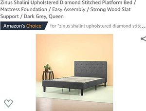 Zinus Shalini Upholstered Stitched Platform Bed Frame Queen for Sale in Canal Winchester, OH