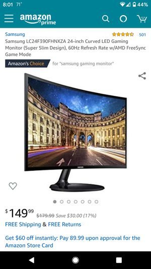 Samsung LC24F390FHNXZA 24-inch Curved Monitor for Sale in Valrico, FL
