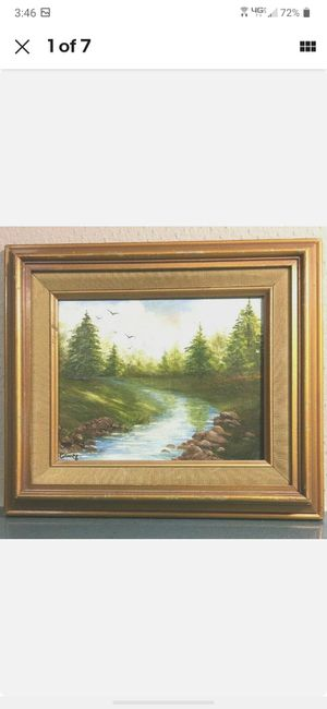 Antique Pastoral Landscape Oil Painting on Canvas RIVER BY JANNY#601 for Sale in Costa Mesa, CA