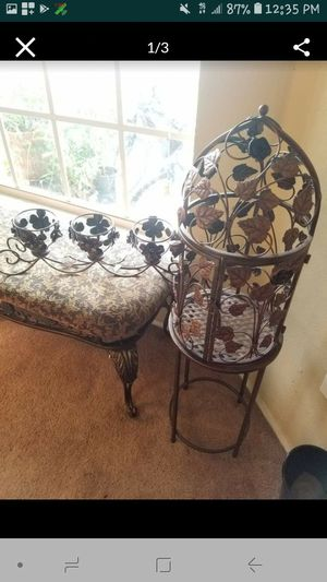 Metal birdcage plant stand and matching candle holder for Sale in Davenport, FL