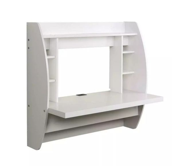 Wall Mount Table Floating Desk Computer PC Shelves White New
