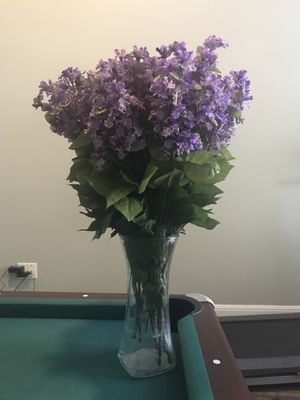 Purple artificial flowers with vase for Sale in Austin, TX