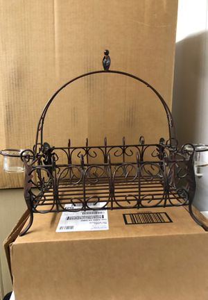 Southern living metal basket with candle tea light holders on the sides for Sale in Simi Valley, CA