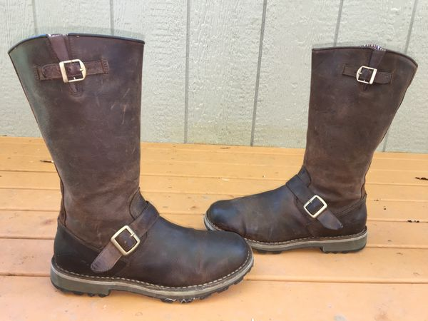 MERRELL LADIES WILDERNESS REMIX BROWN LEATHER ENGINEER MOTO RIDING BOOTS SIZE 9