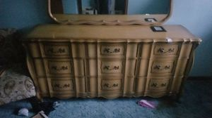 French style dresser with matching twin bed frame and box s n mattress for Sale in Akron, OH