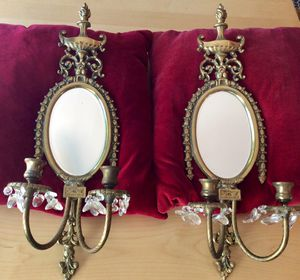ANTIQUE BRASS WALL CANDLE SCONCES WITH REFLECTOR MIRRORS for Sale in Green Valley, AZ