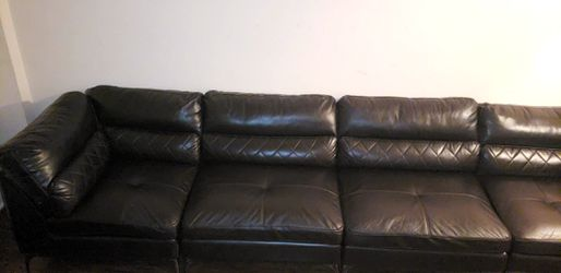12 Foot Black Leather Sectional Sofa: $400 or Best Offer. for Sale in North Miami Beach,  FL