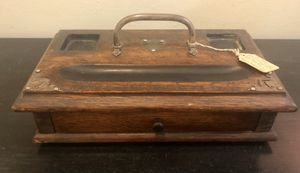 """Antique Wood And Plate 2 Bottle Inkstand With Drawer. 12""""w X 6.5""""d X 2.5""""h for Sale in Saugus, MA"""
