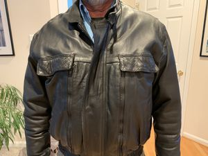 generic leather motorcycle jacket vented medium size but large for Sale in Clarksville, MD