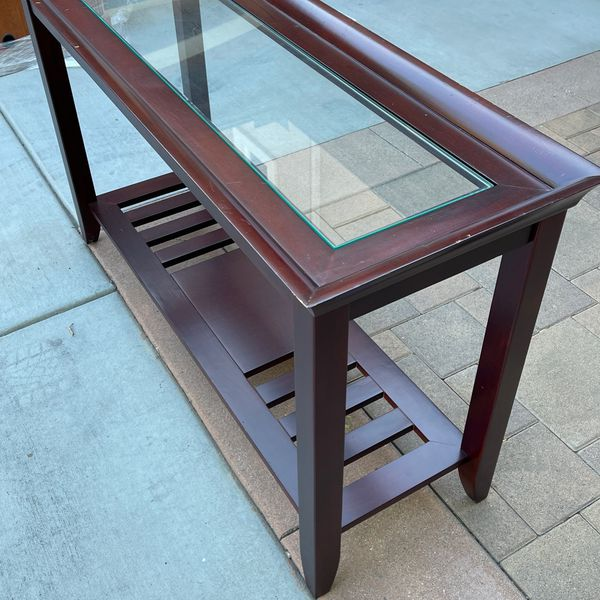 Wood And Glass Console Table