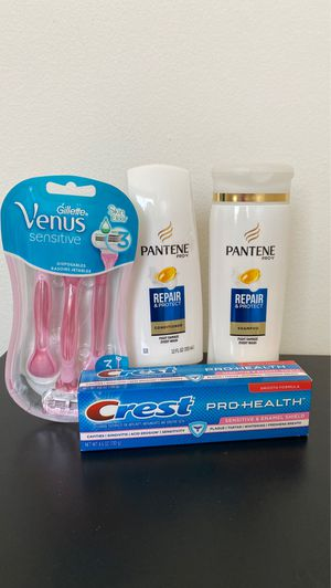 Personal care bundle Pantene shampoo conditioner crest toothpaste Venus razor for Sale in Irvine, CA