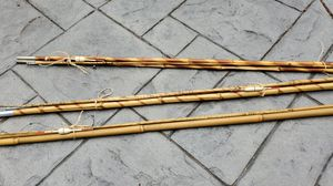 3 vintage bamboo fishing rods w/ original wooden bobbers for Sale in Bothell, WA