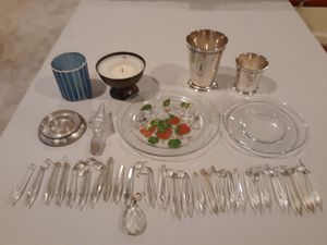 Set of Crystal Drops, Hand Painted Serving Plate, Candle Holders, & Silver Plate Cups for Sale in Tacoma, WA
