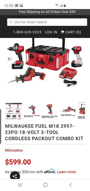Brand new Milwaukee M 18 Fuel 3- Tool Combo Kit Hammer drill, impact, hackzall, 1battery 5.0,1battery 6.0,m18&m12 charger no packout tool case for Sale in Auburn, WA