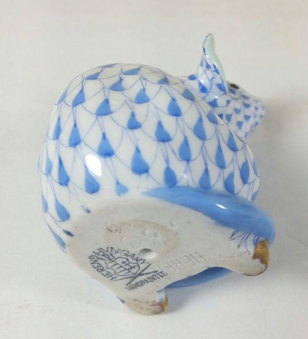 Vintage Blue Fishnet Signed Herend Sitting Mouse Figurine