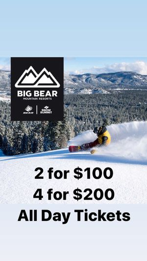 Big Bear Snow Summit it Bear Mountain All Day Tickets I have 4 extra tickets for sale! Expiring 2/29 This voucher is good for Big Bear Snow Summit or for Sale in Los Angeles, CA