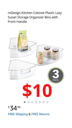 mDesign Kitchen Cabinet Plastic Lazy Susan Storage Organizer Bins with Front Handle for Sale in Ontario, CA