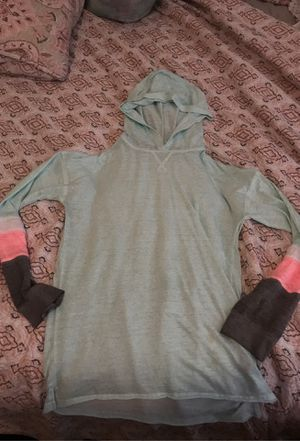 Kohl's very thin sweater with one faint stain on the front mint green with hot pink and grey on the sleeves with hood size kids XL for Sale in San Jacinto, CA