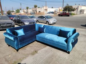 NEW 7X9FT VELVET BLUE FABRIC SECTIONAL COUCHES for Sale in Porterville, CA