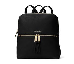 Michael Kors Rhea Med Zip Slim Backpack Black Leather for Sale in Bellevue, WA