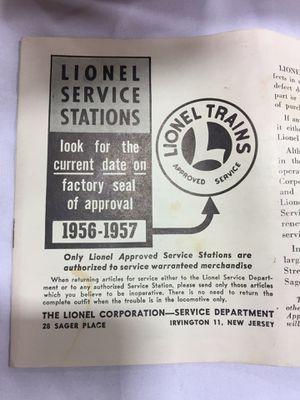1950s Lionel Brochures for Sale in Centreville, VA