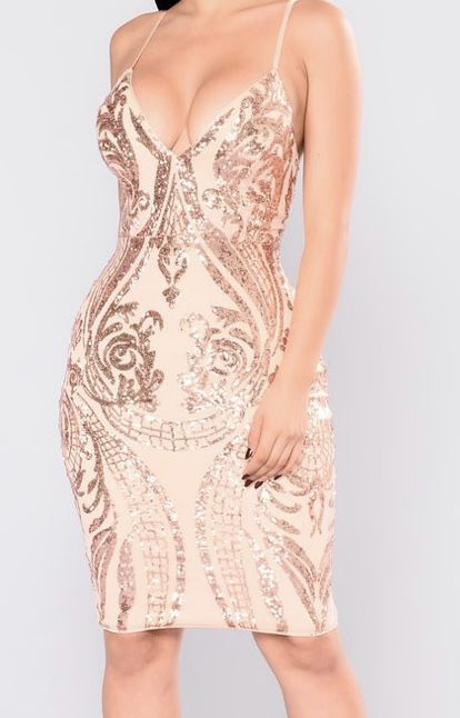 Fashion Nova Rose Gold dress Size XS