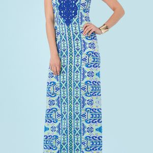 New w/tags! Dress women Hale Bob Esma Crochet jersey print stretch maxi dress-lined, blue. Sz Small for Sale in Brooklyn Park, MN