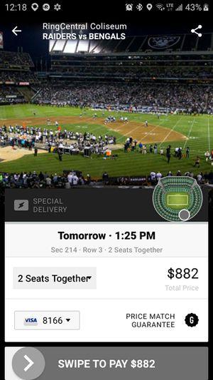 Club seats raiders vs Cincinnati Bengals for Sale in Newark, CA