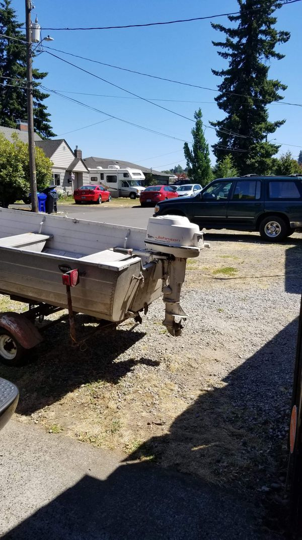 14' Aluminum Fishing Boat with Trailer and 10HP Johnson Seahorse
