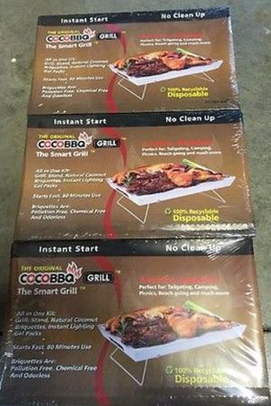 "3- New Large 14"" X 9"" X 1"" Coconut Briquette BBQ Disposable Camping Grills for Sale in Fresno, CA"
