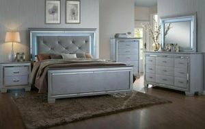Glam style LED queen bed frame $399 king $489 bedroom set available $1099 for Sale in Buena Park, CA