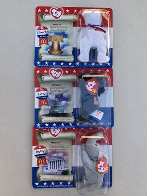"""McDonalds """"ty"""" American Trio Beanie Babies 1996 Brand New-Happy Meal Set of 3🇺🇸 for Sale in Henderson, NV"""