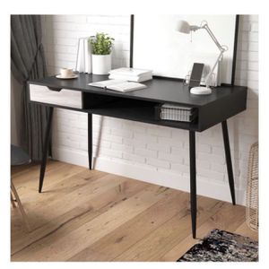 Black Mid Century Writing Desk, Black Oak (Already Assembled, Scratch and Dent) for Sale in Houston, TX