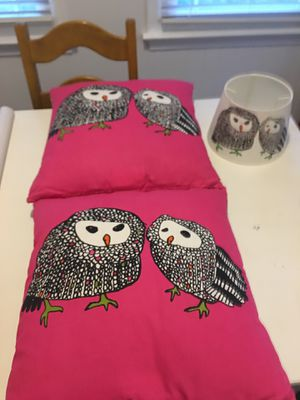 2 owl IKEA pillows and an owl lamp shade for Sale in Chesapeake, VA