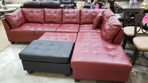 Brand New Red Faux Leather Sectional Sofa Couch + Ottoman for Sale in Silver Spring, MD