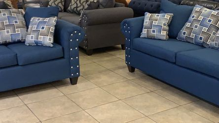 🔥🔥Brand New 2-Piece Sofa-Loveseat Set In Blue Fabric🔥🔥 for Sale in Dublin,  OH