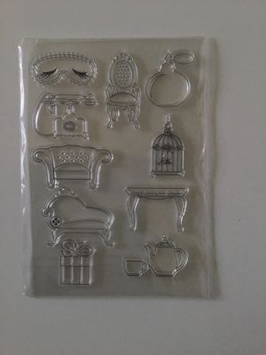 Antique Furniture Table Chair Teapot Sofa Telephone Perfume Bottle Clear Rubber Stamp Set of 10 for Sale in Beverly Hills, CA