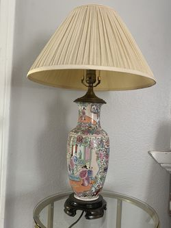 Vintage Porcelain Leviton Chinese Lamp - Antique Light Desk Lamp Colored Engraved for Sale in Los Angeles,  CA
