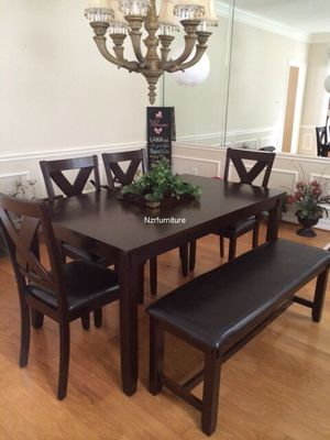 6-PC Breakfast Dining Table w/ 4 Chairs and Bench for Sale in Houston, TX