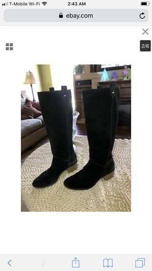 Kate spade boots tall black leather suede 8 for Sale in Houston, TX